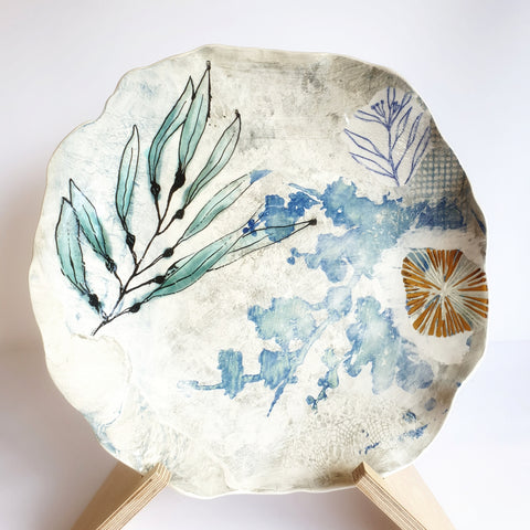 Winter Blue Platter with Gold Lustre (33cmx33cm diameter) - Nada Spencer Ceramics