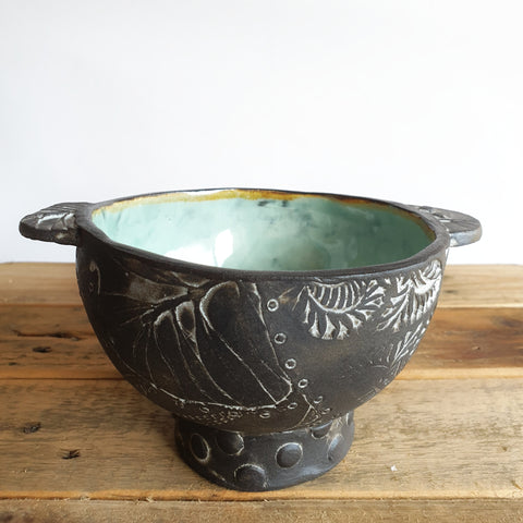 Textured Black Clay Bowl (17cm diameter & 7cm height) - Nada Spencer Ceramics