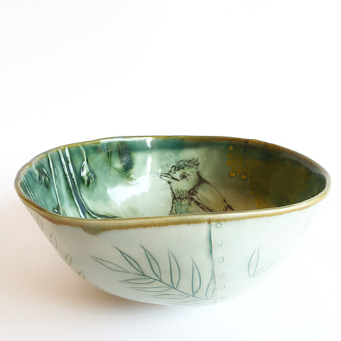 Celadon blue/green Bird Bowl (21cm diameter & 9,5cm height) - Nada Spencer Ceramics