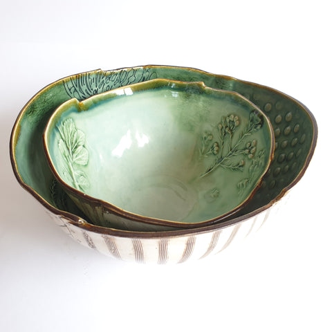 Set of Celadon blue/green Bowls (26cm diameter large, 20cm diameter small) - Nada Spencer Ceramics