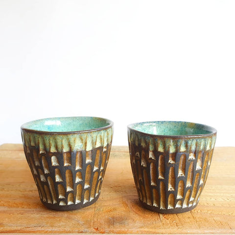 Small Mediteranean Carved Tumblers Set of 2 (7.5 cm high) - Nada Spencer Ceramics