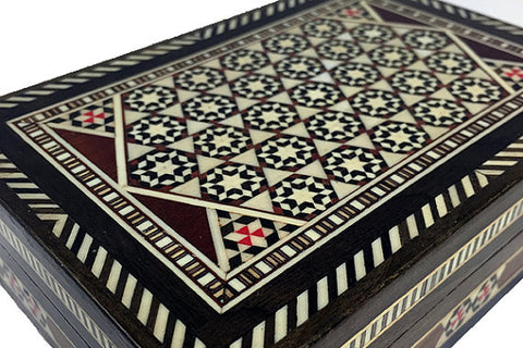 Vintage Syrian Mosaic Box with Wood, Camel Bone & Mother of Pearl Inlaid Pieces