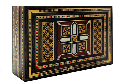 Vintage Syrian Mosaic Box with Wood & Mother of Pearl Inlaid Pieces