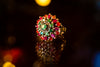 Sterling silver ring with emerald & ruby stones