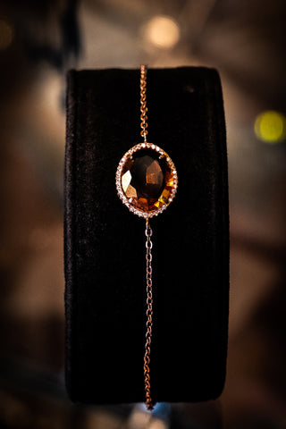Sterling silver bracelet with Zultanite, CZ stones & rose gold plating