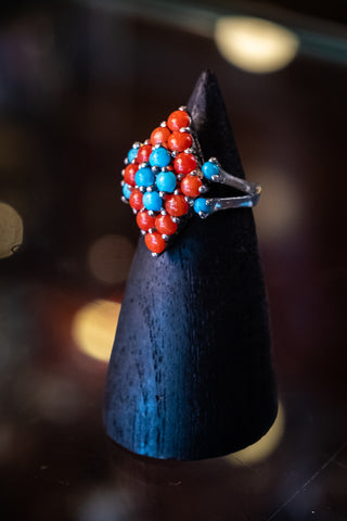 Sterling silver ring with coral & turquoise stones