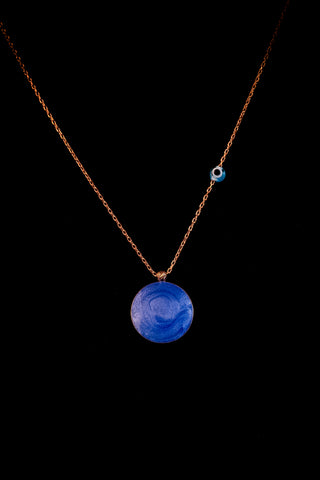 Sterling silver necklace with blue enamel round pendant, chain charm & rose gold plated