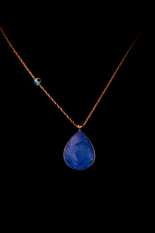 Sterling silver necklace with a large blue enamel teardrop pendant, chain charm & rose gold plated