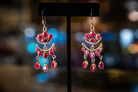 Sterling silver earrings with ruby stones