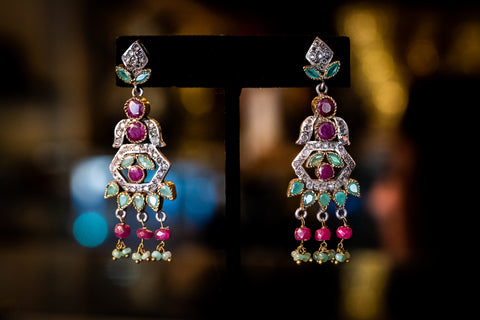 Sterling silver earrings with ruby, emerald & CZ stones