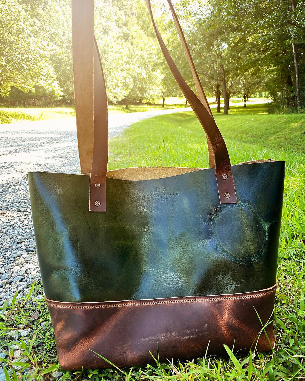 Green Two-Toned Large Tote