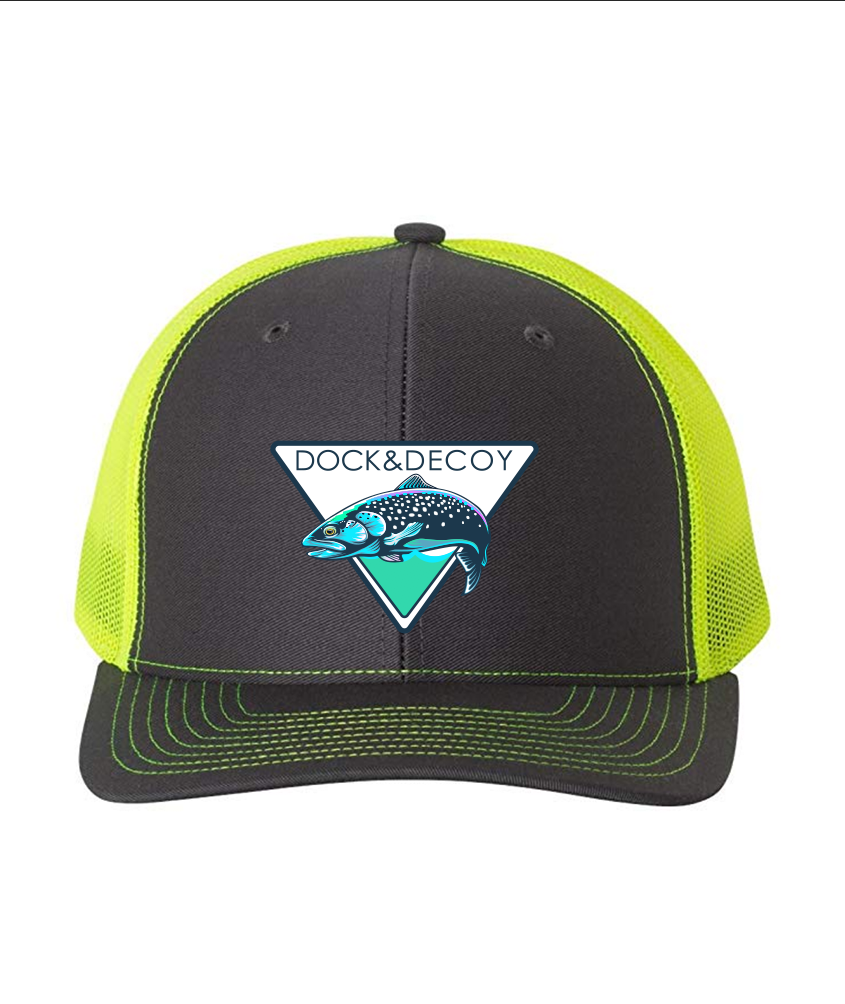 Lucky Rainbow Trout Hat charcoal neon yellow