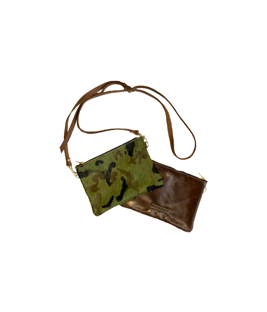 Dock Decoy Camo Cow Hyde Clutch Front/back