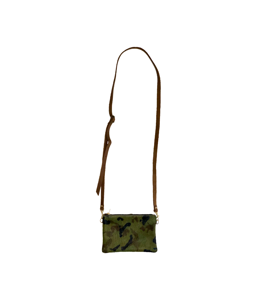 Dock Decoy Camo Cow Hyde Clutch Front