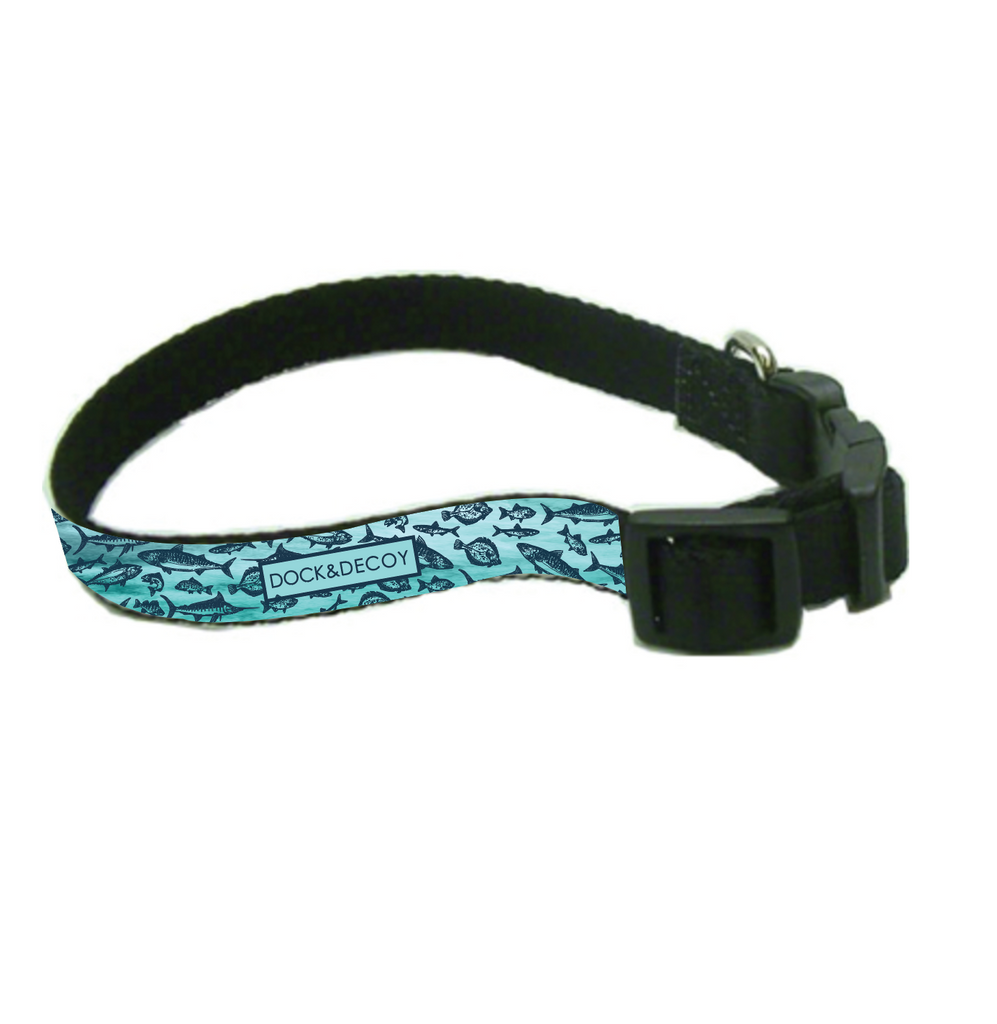 dock decoy teal fish dog collar