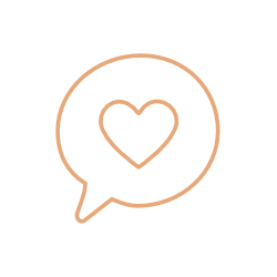 Speech bubble icon containing a heart in the centre