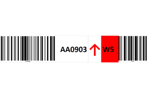 Magnetic rack barcode with guiding arrow and check digit barcode