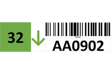 Load image into Gallery viewer, Magnetic rack barcode with check digit and guiding arrow - left side