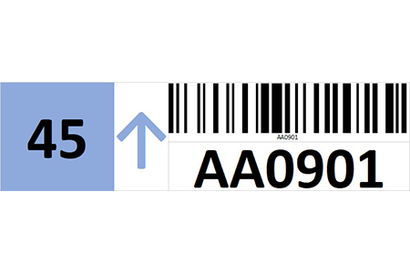 Magnetic rack barcode with check digit and guiding arrow - left side