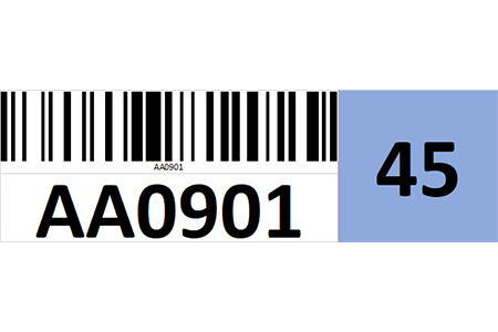 Magnetic rack barcode with check digit - right side