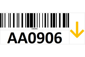 Magnetic rack barcode with guiding arrow - right side