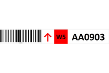 Load image into Gallery viewer, Magnetic rack barcode with guiding arrow and check digit - middle