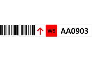 Magnetic rack barcode with guiding arrow and check digit - middle