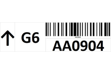 Load image into Gallery viewer, Magnetic rack barcode with guiding arrow and check digit - left side