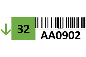Magnetic rack barcode with guiding arrow and check digit - left side