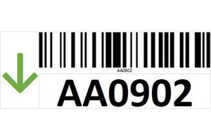 Magnetic rack barcode with guiding arrow - left side