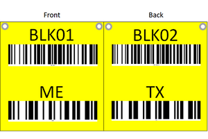 Hanging sign with barcode and check digit with different sides
