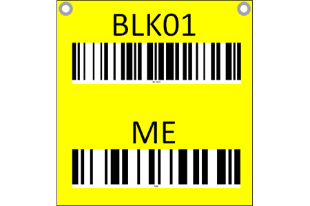 Hanging sign with barcode and check digit - two sided