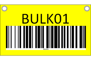 Hanging sign with barcode - two sided