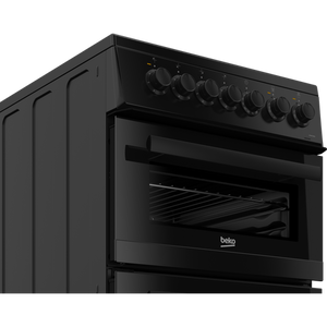 Beko EDVC503B 50cm Double Oven Electric Cooker with Ceramic Hob - Black - A Energy Rated