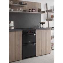 Load image into Gallery viewer, Hotpoint HD5V93CCB Black 50cm Double Oven. Ceramic Hob Cooker