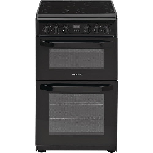 Hotpoint HD5V93CCB Black 50cm Double Oven. Ceramic Hob Cooker