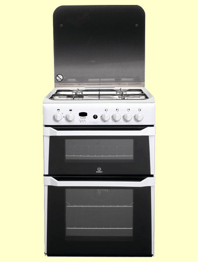 Indesit ID60G2W White Gas Double Oven with Glass Lid.