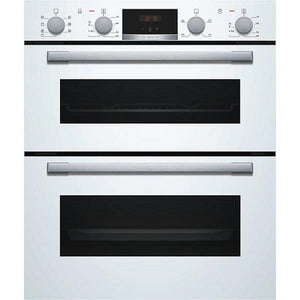 Bosch NBS533BW0B White 3D Hot Air Fan Assisted Built Under Double Oven.