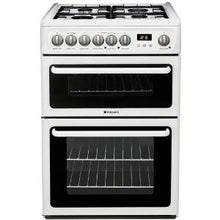 Load image into Gallery viewer, Hotpoint HAG60P White 60cm Gas Double Oven Cooker