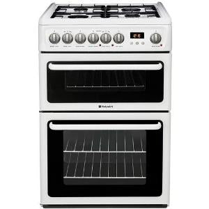 Hotpoint HAG60P White 60cm Gas Double Oven Cooker