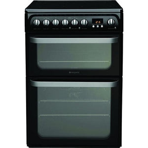 Hotpoint HUE61K Black Ceramic Hob Double Oven Electric Cooker