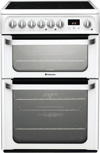 Hotpoint HUE61P White Ceramic Hob Double Oven Electric Cooker