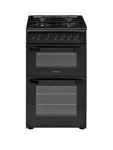 Hotpoint HD5G00KCB Black 50cm Twin Cavity Oven Grill Gas Cooker