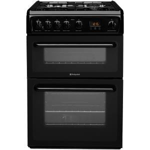 Hotpoint HAG60K Black 60cm Gas Double Oven Cooker.