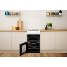 Load image into Gallery viewer, Indesit Cloe ID5G00KMW/L  White Twin Cavity Gas Cooker