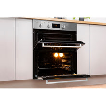 Load image into Gallery viewer, Indesit Aria IDU6340IX Electric Built-under Oven in Stainless Steel and Black