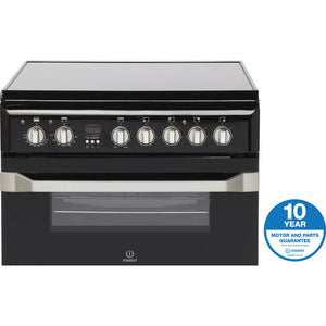 Indesit ID60C2K Black 60cm Double Oven Electric Cooker