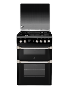 Indesit ID60G2K Black 60cm Gas Double Oven Cooker