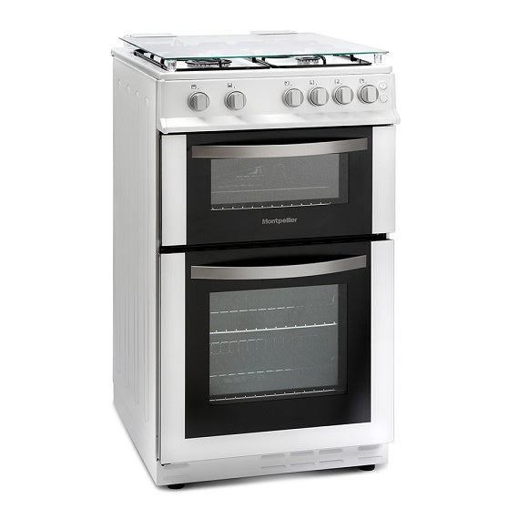 Montpellier MDG500LW White 50cm Gas Double Oven Cooker