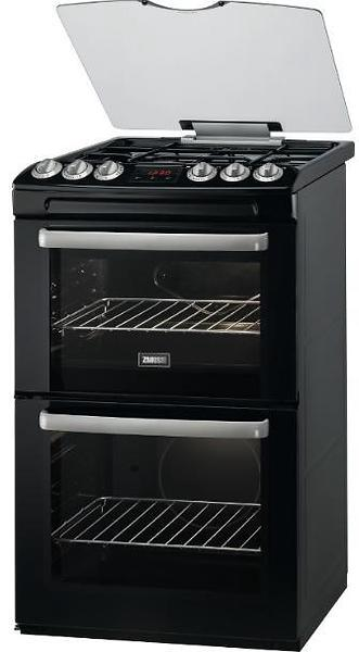 Zanussi ZCG63250BA Black 60cm Double Oven Gas Cooker